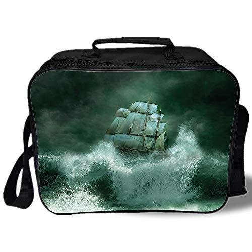 Pirate Ship 3D Print Insulated Lunch Bag,Old Ship in Thunderstorm Digital Artwork Fantasy Adventure,for Work/School/Picnic,Jade Green Dark Green White ()