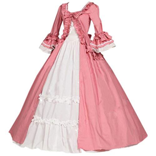 Loli Miss Womens Ruffles Bowknot Half Sleeve Lolita Dress Marie Antoinette Victorian Costume S Pink