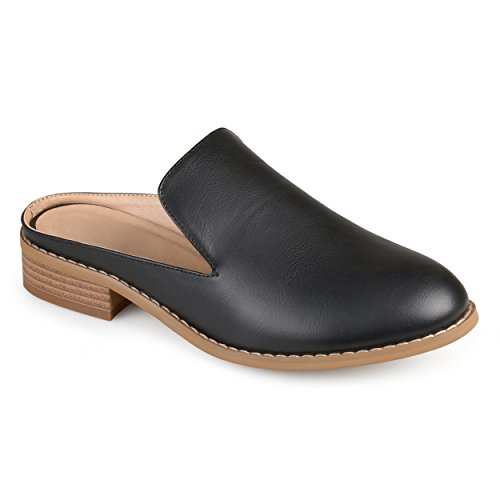 Journee Collection Womens Faux Leather Slide-On Mules Black mXuJL1zzER