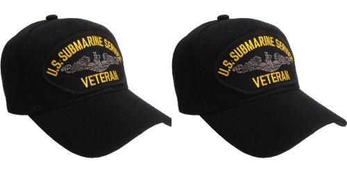 Submarine Service Veteran Hat Black Ball Cap 2 PACK