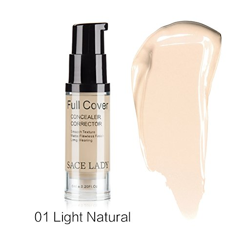 Pro Full Cover Liquid Concealer, Waterproof Smooth Matte Flawless Finish Creamy Concealer Foundation for Eye Dark Circles Spot Face Concealer Makeup, Size:6ml/0.20Fl Oz, Light Natural
