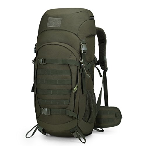 Mardingtop 50L Hiking Backpack Molle Internal Frame Backpacks with Rain Cover for Tactical Military Camping Hiking Trekking Traveling (Army Green-50L)