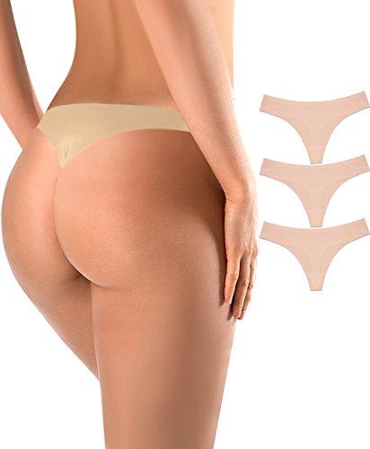 Sports Thongs For Women Nylon Spandex Breathe Panties,3 Pack Skin,Large