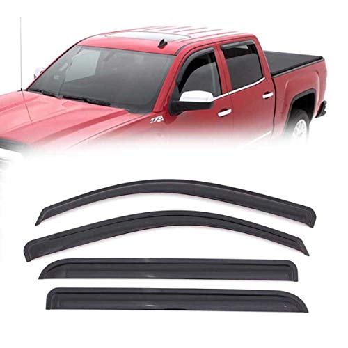 4pcs For 2014-2018 Chevrolet/GMC Silverado/Sierra 1500 Crew Cab / 2015-2018 Chevrolet/GMC Silverado/Sierra 2500HD/3500HD Crew Cab Smoke Deflector Sun Rain Guard Vent Shade Window Visors