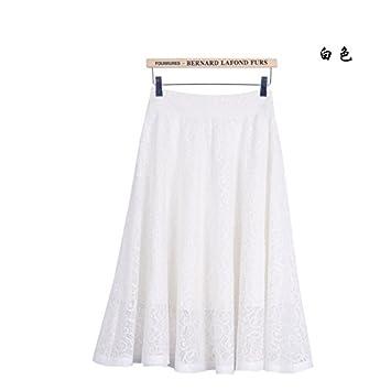 XiaoGao Falda de Encaje en una Falda Larga,L Blanco: Amazon.es ...