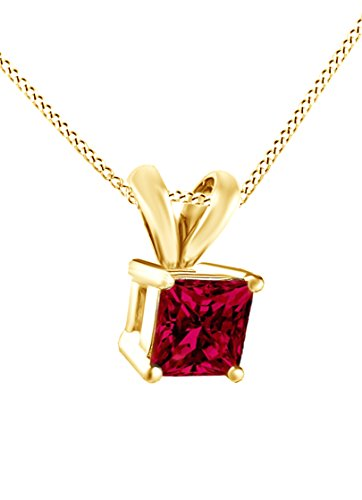 Square Princess Cut July Birthstone Ruby Pendant With Chain In 14k Yellow Gold Over Sterling Silver (3 -