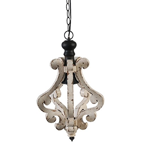 "A&B Home Harper 1-Light Wood & Metal Chandelier, 12.5"" x 12.5"" x 21"""