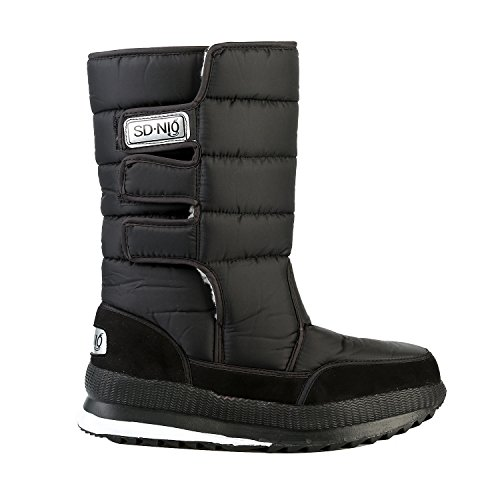 L-RUN Womens Military Snow Boots Knee High Winter Outdoor Booties Waterproof Black YSvgY9mn