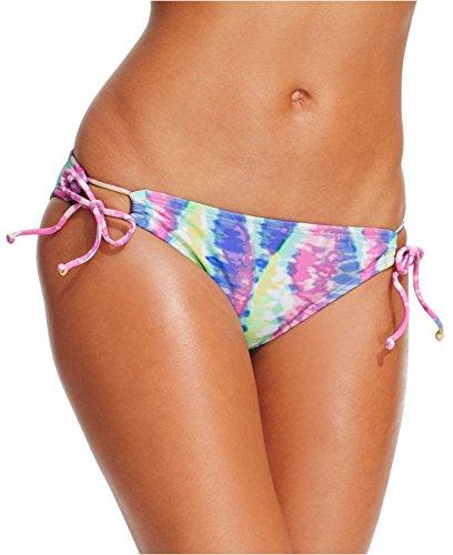 Bikini Lab Tunnel-Ties Tie-Dyed Hipster Bikini Bottom Women's Swimsuit, LARGE (Tunnel Tie Bikini)
