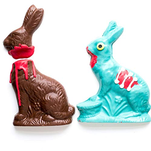 Zombie Chocolate Bunny Rabbit & Victim Set, Easter Gift for Teens, Basket Stuffer, Gourmet Hand-Crafted Small Batches, Made in USA, White Chocolate