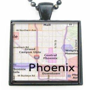 - Phoenix Arizona Map Glass Black Tile Pendant Necklace with Black Chain