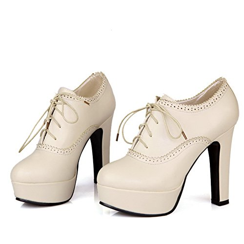 Balamasa Womens Lace Up High Heels Solid Pumps Shoes Beige QqCiDeL7S