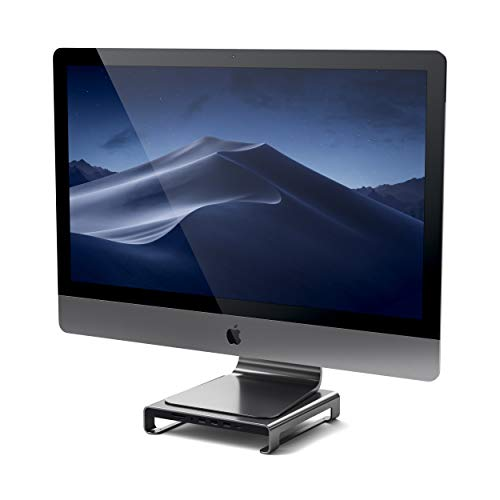 Aluminium Audio - Satechi Type-C Aluminum Monitor Stand Hub with Built-in USB-C Data, USB 3.0, Micro/SD Card Slots & Audio Jack - Compatible with iMac Pro, 2016/2017 iMac and More (Space Gray)