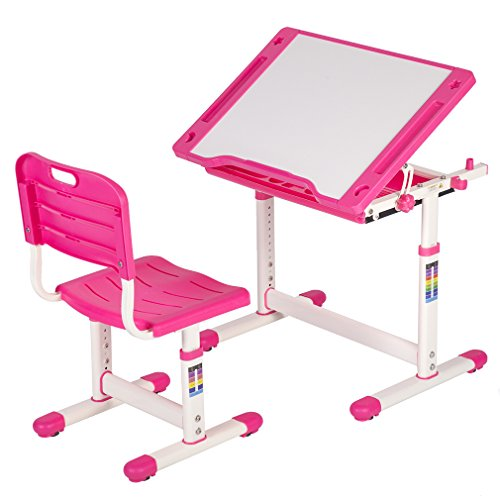 Desk Set Chair (Height Adjustable Multifunctional Children's Study Desk Table Chair Set With Drawer For Kids)