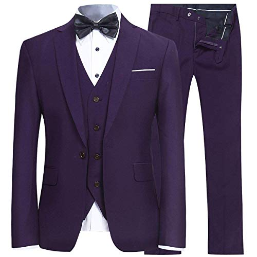 (Men's Slim Fit 3 Piece Suit One Button Blazer Tux Vest & Trousers Purple)