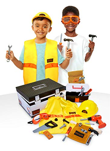 BLACK+DECKER Construction Dress Up Trunk for Kids with Fabric Role Play Costume Accessories, Realistic Toy Tools & Portable Kid-Sized Tool Box - 22Piece Included (Amazon Exclusive) from BLACK+DECKER