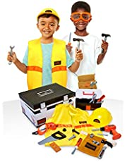 BLACK+DECKER Construction Dress Up Trunk for Kids with Fabric Role Play Costume Accessories, Realistic Toy Tools & Portable Kid-Sized Tool Box – 22 Piece Included (Amazon Exclusive)