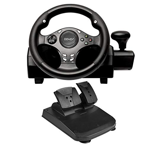 DOYO 270 Degree Motor Vibration Driving Gaming Racing Wheel with Responsive Gear and Pedals for PC/PS3/PS4/XBOX ONE/XBOX 360/NIntendo Switch/Android (Steering Wheel Controller For Ps3)