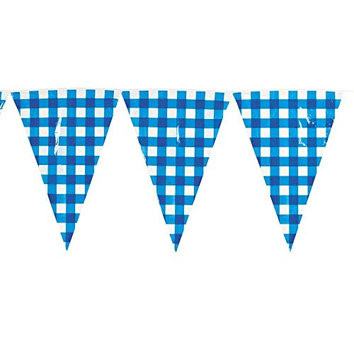 Fun Express Large Blue Gingham Pennant Banner ()