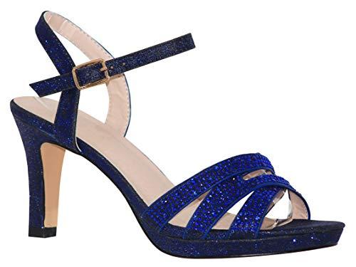 Adjustable Open Toe - MVE Shoes Women's Open Toe Low Heel Strappy Adjustable Ankle Strap, NICOLE-28 Navy 6.5