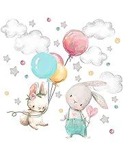 Little Deco Muursticker babykamer hazen & ballon I muurschildering 123 x 82 cm (B x H) I sterren wolken stickers kinderkamer meisjes muursticker baby meisjeskamer DL602