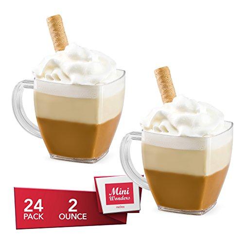 MINI WONDERS Heavy Duty Small Plastic Single Serve Dessert Cups Square Espresso Coffee Cappuccino Mugs 2 oz. Clear Appetizer Bowls 24 Count - Disposable Reusable Party Dishes (Reusable Plastic Dessert Cups)