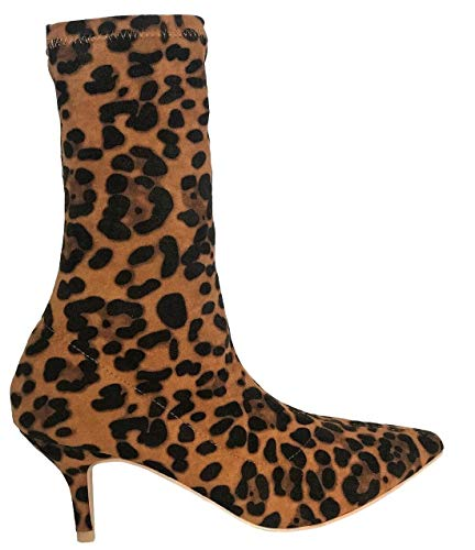 (Maclin J 224-1 Elastic Stretchy Sock Ankle High Boots Kitten Heel Pointed Toe Black (10, Leopard))
