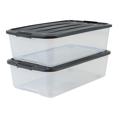 Marca Amazon - Iris Ohyama set di due scatole di immagazzinaggio a letto con la roulette - Top Box - TBU-40, plastica, trasparente / nero, 40 L, 68 x 39 x 19,3 cm