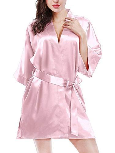 ETAOLINE Women's Sexy Intimate Lace Lingerie Short Kimono Robe (XL=US M-XL, Z -(Pink))
