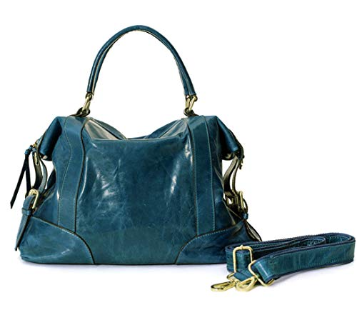 - La Poet Women's Waxed Cowhide Hobo Satchel Shoulder Bag (Teal Green)