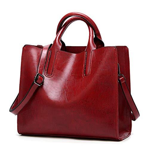 Bolso bandolera con asa superior para mujer, bolso bandolera, rojo vino, L