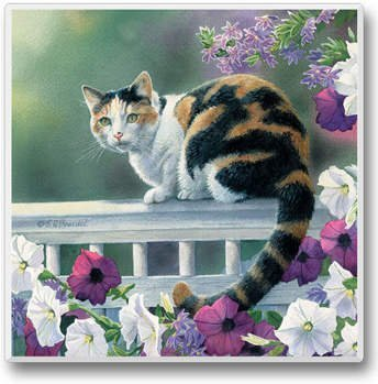 - Lazy Day Set of 6 Tile Coasters Calico Cat on Porch Railing