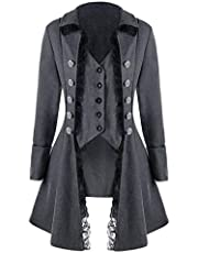 Women's Long Sleeve Breasted Coat Lace Button Up Irregular Solid Color Medieval Renaissance Tailcoat Outerwear