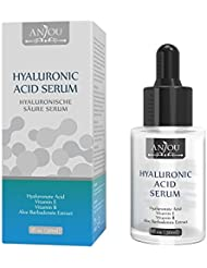 Hyaluronic Acid Serum For Face Anjou 100 Pure Natural Moisturizer to Hydrate Skin, Anti Aging, Anti Wrinkle Serum, Paraben Free, Upgraded, 1 fl. oz