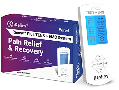 FDA Cleared iReliev TENS Unit + EMS 14 Therapy Modes, Premium Pain Relief and Recovery System, Rechargeable, Large Back Lit Display, Large and Small Electrode Pads (Best Rated Long Term Care Insurance)