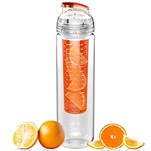Sport Tritan Fruit Infuser Reusable Water Bottle 27oz. BPA Free Plastic, Flip Top Lid, Made with Commercial Grade Tritan With Many Color Option (Orange)