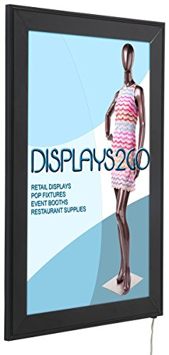 Displays2go LED Light Box Sign Frame, 11 x 17 Inches, Wall Mounted, Black Aluminum and PVC (SLEDF117B) ()
