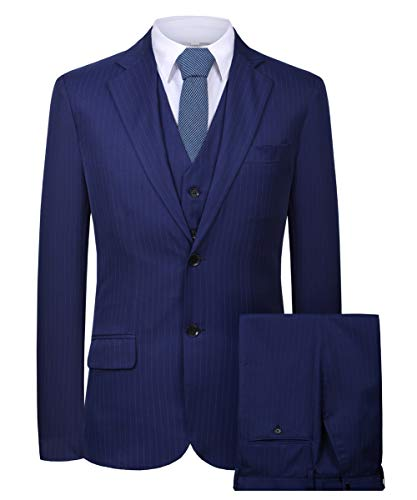 - Hanayome Men's 3 Pieces Business Suits Slim Fit Stripe Blazer Jacket Vest Pants Set SI137 (Blue,52)