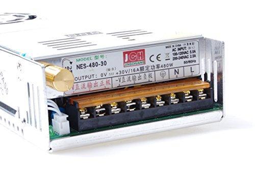 Adjustable DC Power Voltage Converter AC 110V-220V to DC 0-30V Module 30V 16A Switching Power Supply Digital Display 480W Voltage Regulator Transformer Built in Cooling Fan (DC 0-30V 16A) ()