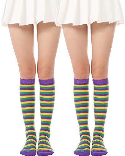 JASMINO Over Knee Long Sock Striped Mardi Gras