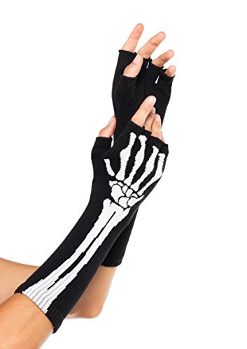 Halloween Skeleton Gloves (Leg Avenue Women's Skeleton Fingerless Gloves, Black, One Size)