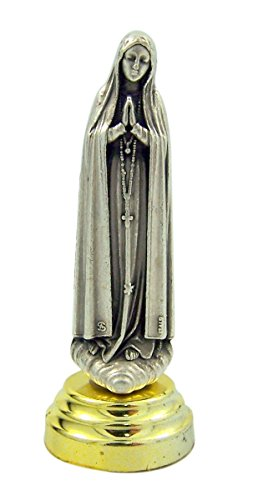 (Silver Toned Our Lady of Fatima Statuette Car Statue with Adhesive Base, 2 5/8 Inch )