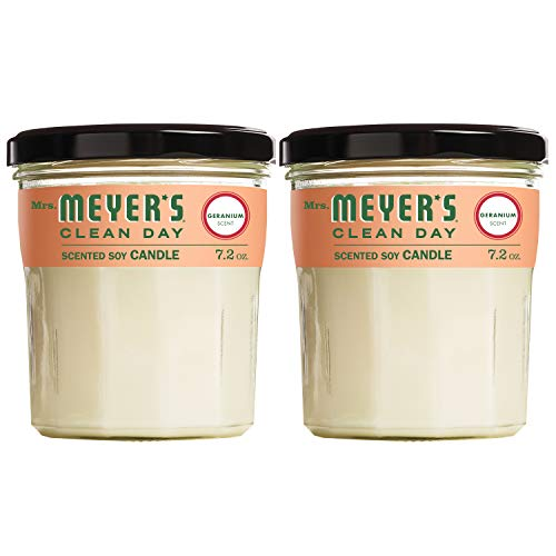 Mrs. Meyer's Clean Day Scented Soy Candle, Large Glass, Geranium, 7.2 oz (2 pack)