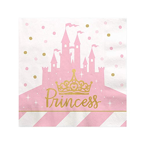 Little Princess Crown with Gold Foil - Pink and Gold Princess Baby Shower or Birthday Party Cocktail Beverage Napkins (16 Count)