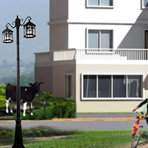 Kendal 8 Feet High Outdoor Solar Lamp Post Light with Two Heads and LED Lights SL-3801black2.45M by Kendal (Image #6)