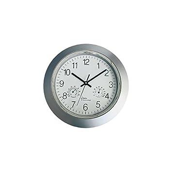 Sonstige - Reloj analógico de pared radiocontrolado con termómetro e higrómetro: Amazon.es: Electrónica