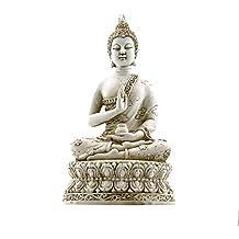 "Ornerx Thai Sitting Buddha Statue for Home Decor Ivory 6.7 """
