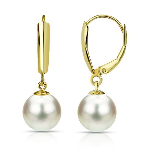 14K Yellow Gold White Freshwater Cultured Pearl Leverback Dangle Earring Graduation Gifts 8-8.5mm