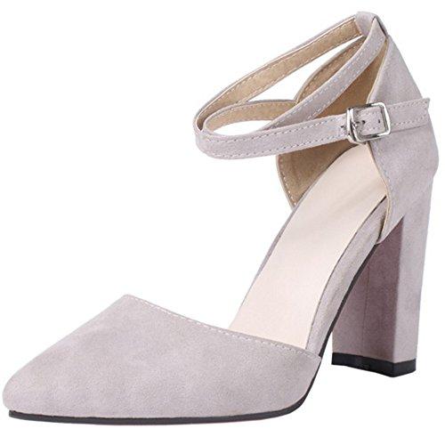 RAZAMAZA Mujer Moda Verano Cerrado Sandalias Criss Stappy Tacon Ancho Zapatos Gris