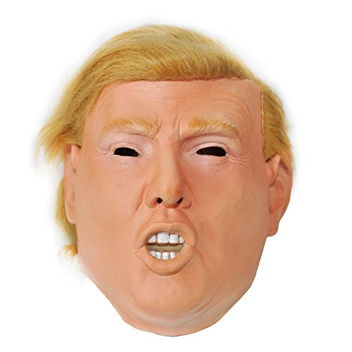 Wig Mask (Donald Trump Celebrity Latex Mask Ideal for Parties Halloween | MAGA Pin Included)